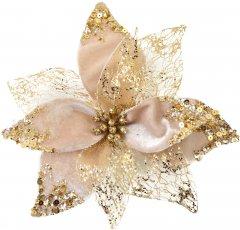 Пуансеттия Новогодько (YES! Fun) 21 х 21 см Бежево-золотая (750331) (5056137185634)