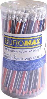 Набор графитовых карандашей Buromax Silver HB с ластиком 100 шт (BM.8510-100)