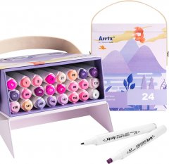 Спиртовые маркеры Arrtx Alp ASM-02PL 24 цвета Фиолетовые оттенки (LC302239)