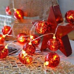 Светодиодная гирлянда ColorWay Christmas lights ball 6 см 10 LED 1.5 м USB Red (CW-MC-LB10U)