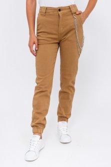 Жіночі джинси з ланцюжком - бежевий колір, S (36) S (36)