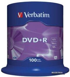 Verbatim DVD+R 4,7 GB 16x Cake Box 100 шт (43551)