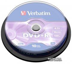 Verbatim DVD+R 4,7 GB 16x Cake Silver 10 шт (43498)