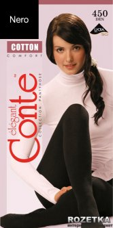 Колготки Conte из хлопка Cotton 450 Den 3 р Nero -4811473078160