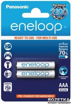 Аккумулятор Panasonic eneloop AAA 750 мАч Ni-MH 2 шт (BK-4MCCE/2BE)