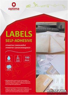 Набор этикеток самоклеящихся Optima 100 листов А4 70х31.5 мм Белые (25116)