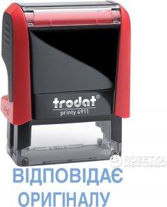 """Штамп стандартный Trodat Printy 4911 """"Відповідає оригіналу"""" 38х14 мм 2 строки Красный корпус (092399430872) (4911 P4 черво)"""
