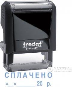 "Штамп стандартный Trodat Printy 4911 ""Сплачено + дата"" 38х14 мм 2 строки Черный корпус (092399430766) (4911 P4 чорна)"