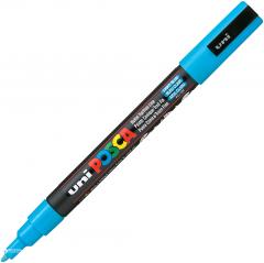 Маркер-краска Uni Posca Голубой 0.9-1.3 мм Черно-голубой корпус (PC-3M.L.Blue)