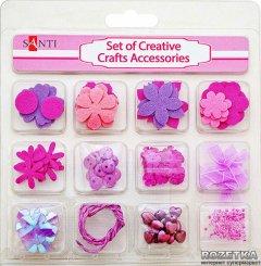 Набор декоративных украшений для скрапбукинга Santi 12 видов Розовый (952093) (5009079520933)
