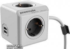 Сетевой удлинитель Allocacoc Powercube Extended с заземлением 4 розетки 3 м USB (1407/DEEUPC)