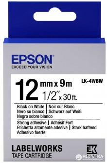 Картридж с лентой Epson LabelWorks LK4WBW 12 мм 9 м Strong Adhesive Black/White (C53S654016)