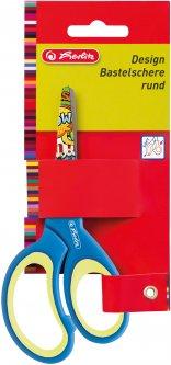 Ножницы детские Herlitz 13 см с резиновыми вставками Синие с принтом (10801710G)