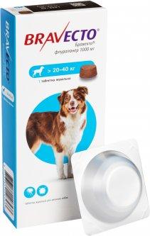 Жевательная таблетка Bravecto (Бравекто) от блох и клещей для собак 20 - 40 кг (8713184146533)