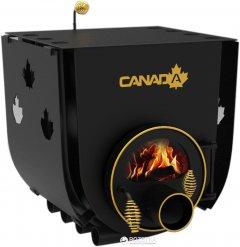 Печь калориферная для дома и дачи Canada ОО с варочной поверхностью, со стеклом + перфорация (CW-002005SP)