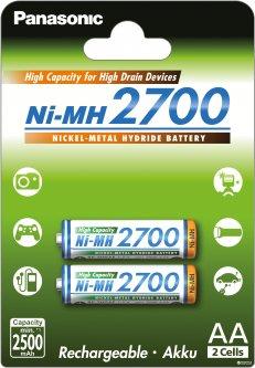 Аккумулятор Panasonic High Capacity AA Ni-MH 2700 мАч 2 шт (BK-3HGAE/2BE)