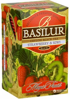Чай черный в пакетиках Basilur Magic Fruits Клубника и киви 20 шт х 2 г (4792252002074)