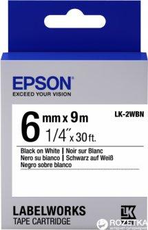 Картридж с лентой Epson LabelWorks LK2WBN 6 мм / 9 м Black/White (C53S652003)