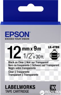 Картридж с лентой Epson LabelWorks LK4TBN 12 мм / 9 м Black/Clear (C53S654012)