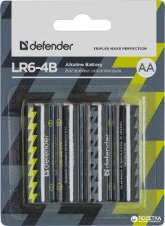 Батарейки Defender Alkaline LR6-4B AA 4 шт (56012)