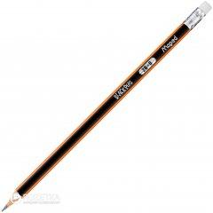 Набор карандашей графитовых 12 шт Maped Black Peps 2B с ластиком Черно-оранжевый (MP.851722)