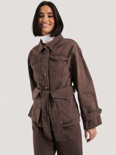 Джинсовая куртка NA-KD 1018-004646-0017 34 Коричневая (88850000000158)