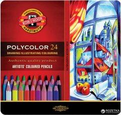 Художественные карандаши Koh-i-Noor Polycolor 24 цвета металлическая упаковка (3824024002PL)