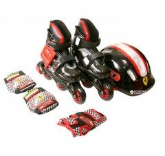 Набор роликовые коньки Ferrari размер 29-32 + комплект защиты Черный (6944994935891)