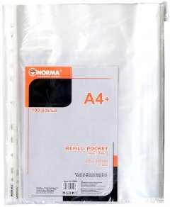 Набор файлов-карманов Norma А4+ 30 мкм глянцевый Прозрачный 100 шт (8591662570403)