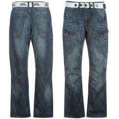 Джинси No Fear Belted Cargo Jeans Mens 30WR Mid Wash (2686376)