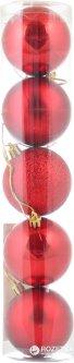 Набор елочных шаров Новогодько (YES! Fun) 60 мм 5 шт Красный (972581) (5056137103898)