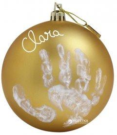 Набор для создания отпечатка ручки и ножки малыша Baby Art Рождественский шарик Мое волшебное Рождество Золотистый (34120154)