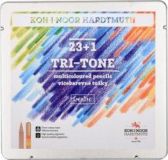Цветные карандаши Koh-i-Noor Tri-Tone 23 цветов + 1 карандаш-блендер в металлическом пенале (3444)