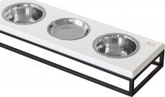 Подставка на три миски для собак и кошек Harley and Cho Lunch Bar S 0.45 л 7 см White wood+Black S. (3102800)