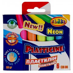 Пластилин Class Чистые руки ECO 6 цветов NEON 100 г (7630C) (8591662763003)
