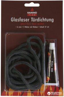 Шнур-уплотнитель стеклопластик Kamino Flam 6 мм х 2 м + 20 г клея (333203)