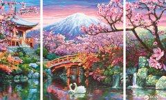 """Художественный творческий набор-триптих Schipper """"Цветение сакуры в Японии"""" 50х80 см (9260751) (4000887927519)"""
