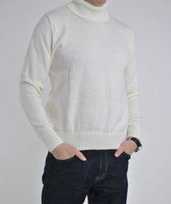 Чоловічий шерстяний гольф-светр з вишивкою у біло-молочному кольорі, р. 2XL