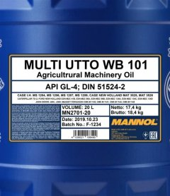 Трансмиссионное масло Mannol UTTO Multi WB 101 20 л (UTTO 20L)