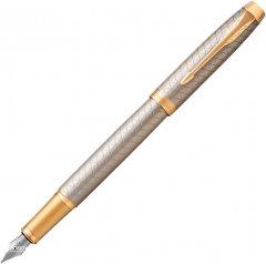 Ручка перьевая Parker IM 17 Premium Warm Silver GT FP F Черная Серебристо-золотой корпус (24 111)
