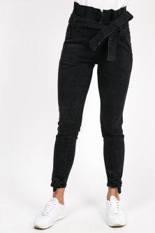 Черные джинсы высокие с завязками Re-Dress - черный цвет, XL (2242-A)