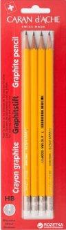 Набор карандашей Caran d'Ache Graphite HB + резинка 4 шт (7610186463723)