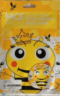 Маска для лица Face Facts Queen Bee Printed Honey Beauty Face Mask Sheet Pamper Girl Gift Cute Kawaii с принтом лица пчелы - королевы красоты 20 мл (5031413921038)