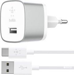 Сетевое зарядное устройство Belkin USB-3.0 Quick Charge + USB-C сable Серебристый (F7U034VF04-SLV)
