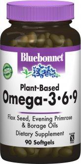 Жирные кислоты Bluebonnet Nutrition Омега 3-6-9 на растительной основе 1000 мг 90 желатиновых капсул (743715010123)