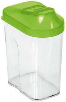 Контейнер для сыпучих продуктов BranQ Easy Way с дозатором прозрачный с зеленой крышкой 0.5 л (BRQ-8121.1)