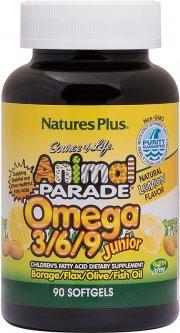 Жирные кислоты Natures Plus Animal Parade Омега 3-6-9 для детей, вкус Лимона 90 желатиновых капсул (97467299948)