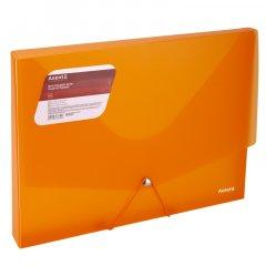 Папка-бокс пластиковая Axent A4 30 мм на резинке 800 мкм Прозрачная Оранжевая (1502-25-A)