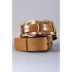 Ремень с кольцами Manufac 90 Светло-коричневый (S-33-1)