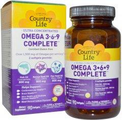 Жирные кислоты Country Life Ultra Omega 3-6-9 90 капсул (015794041009)